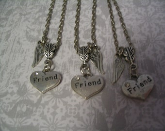 Friend Heart Necklaces with Angel Wing for Best Friends Sorority Sisters