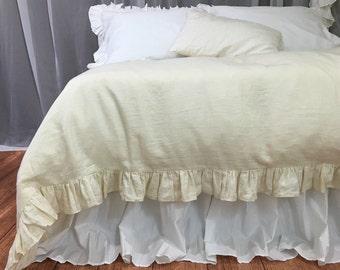 Sundress Linen Ruffle Duvet cover, Ruffle Linen Bedding, Luxury bedding collections