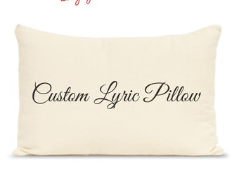 custom lyric print pillow, quote print, quotes on cotton, personalized pillow, wedding vows, lyric print, custom vows, song lyrics printed