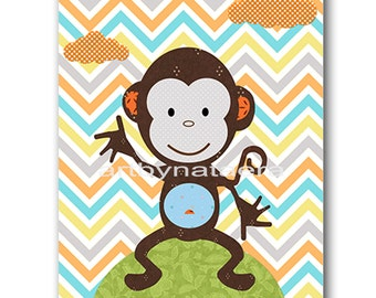 Monkey Nursery Baby Nursery Decor Baby Boy Nursery Kids Wall Art Kids Art Baby Room Decor Nursery Print Monkey Blue Gray Green Orange