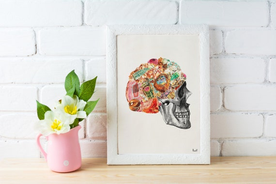 Minerals Skull Human anatomy collage .Stones and minerals, Anatomical Skull print Wall decor art Chic home decor, SKA119WA4