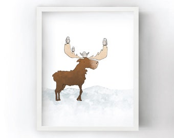 Moose Art Print - Owls Riding Moose Antlers