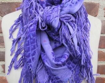 vintage purple scarf fringed Tie dye square neck wrap oversized rayon shawl fringed Bandana mod Boho Chic hippie festival bohemian accessory