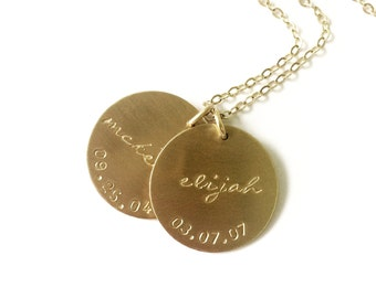 Custom Name Necklace, 1, 2 or 3 Large Disc Personalized Jewelry Mothers Necklace, Long Necklace, Gold Necklace, Personalized Jewelry