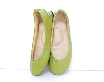 Ballerina leather flat shoes apple green custom made