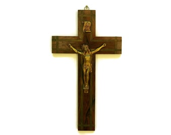 French Antique Art Deco Wooden Crucifix. Large Hanging Cross with Brass Inlay.