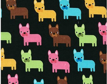 Bright Puppies on Black from Robert Kaufman's Urban Zoologie Collection by Ann Kelle