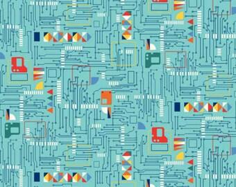 Makower UK Galaxy Circuit Board on Blue, woven cotton fabric,  1 Yard