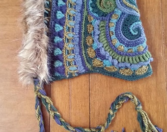 OOAK Freeform Crochet Reversible Hood