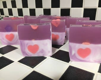 Valentine soap with heart embedded