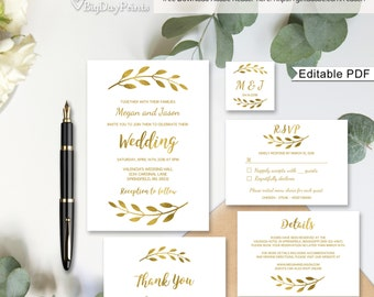 Gold Wedding Invitation Template, Wedding Suite, Printable, Gold Invitation, #A031, Editable PDF - you personalize at home.
