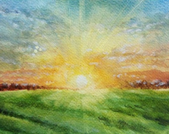 Sunrise, Sunrise painting, Wall Decor, Wall Art, Original watercolor painting