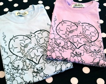 Party Animal Screen Printed Tee in Lilac or Baby Blue
