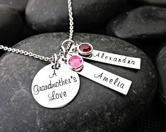 A Grandmother's Love - Grandma Necklace - Grandma Gift - Grandchild Jewelry - Mother's Necklace - Personalized - Names - Birthstones