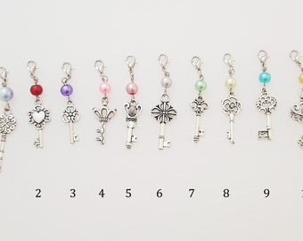 Key beaded silver clip on charm