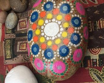 Colourful hand painted mandala stone