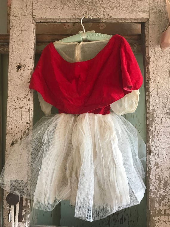 Dress Little Dress Riding Tutu Ballet Costume Hood Vintage Red 1wRq5ZxX