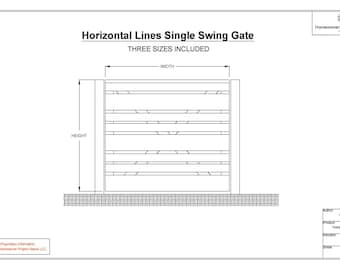 Horizontal Lines Single Swing Gate Drawing Sheets