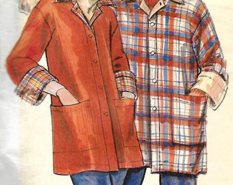 Men's Coat, UNCUT Butterick Pattern 5096, Size Small, Bi-color, Top Stitched Trim, Patch Pocket, Loose Fitting Jacket, 1970s Clothing