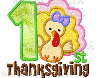 First Thanksgiving girly turkey applique machine embroidery design