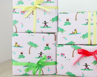 Summer Dog Wrapping Paper for Tropical Days, 2 Sheets 50x70cm