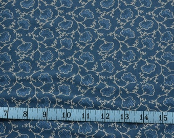 Blueberry Buckle Fabric, Lotus Flower Fabric, Federal Blue Fabric, Cotton Fabric By The Yard, Fat Quarter, Quilt Making Supplies, Crafting