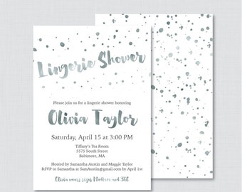 White and Silver Lingerie Shower Invitation Printableor Printed - Faux Silver Foil Lingerie Shower, White and Gray Bachelorette Party 0010-S