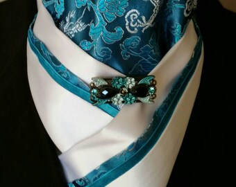 Doc's Designs Turquoise Dragons and White Dressage  Stock Tie