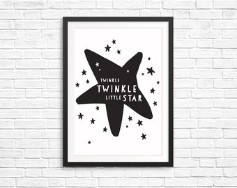 Unisex Kids Bedroom Decor Fun Children Print- Twinkle Twinkle Little Star