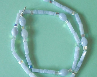 Gemstone Jewelry Necklace - Blue Lace Agate and Swarovski Crystal Gemstone Beaded Necklace