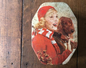 Girl Dog Allen's Chocolate Tin Biscuit Collectible Typography Graphics Advertising Storage