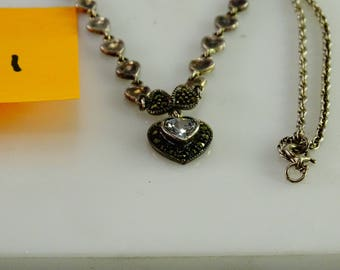 """Marcasite Chrystal Heart Necklace (17"""")"""
