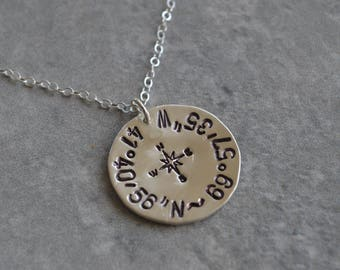 Coordinates sterling silver compass necklace