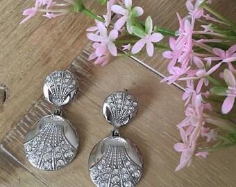Dangle earrings pierced VINTAGE SPHINX - round Crystal