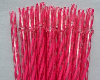 """11"""" Dark Pink & Clear Swirly Straws Reusable with Rings - BPA Free"""
