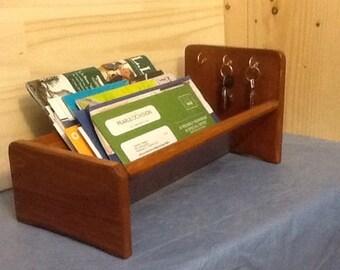 "Handcrafted Desktop Mail Organizer, Wooden Letter Desk Holder Wood Magazine Rack Key Hooks, 7.5 x 7.5"" x 16 Medium Cherry or other stains"
