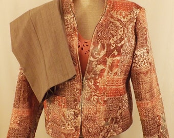 90s Vintage Patchwork Quilted Top Women's Brown Pants Suit Size 6