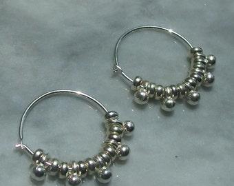 small hoop earrings small sterling silver hoop earrings ball charm earrings versatile dainty earrings everyday earrings 925 sterling silver