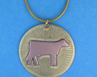 Dairy Cow In Copper on Brass Engraved Disc Necklace Pendant Hand Crafted 18 Inch Gold Plated Chain Livestock 4H FFa Farm On Leather Cord