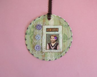 "She ""Never Questions My Decisions"" mixed media Tag/Gift Tag/Scrapbook/Card"