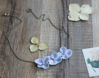 Hydrangea necklace - flower necklace - botanical jewelry - garden wedding - purple jewelry - nature jewelry - floral necklace - lilac