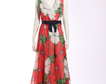 1960s Floral Ruffled Maxi Dress
