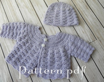 """PDF Pattern - 15"""" or 18"""" Doll Crocheted Sweater and Hat Pattern"""