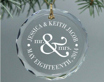 Mr. & Mrs. - Personalized Couple's Christmas Ornament -  Circle Wedding Date Keepsake