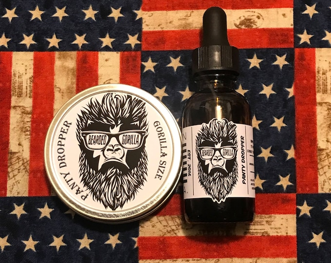 Featured listing image: Panty Dropper Scented All Natural Moisturizer Beard Balm & Oil Set, Bearded Man Gift, Father's Day Gift, Mens Beard Products-GORILLA SIZE