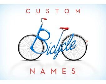 Nombre de la bicicleta personalizada, ilustraciones personalizadas, regalos únicos, nombre tipografía - tarjetas, señales y carteles