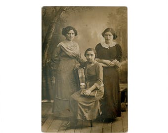 Vintage Real Antique Black & White Photo Postcard Girls Sisters Fashion Memory 1910-s Europe Collection Photography