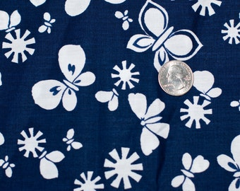 blue and white butterfly fabric