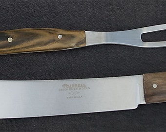 Texas butcher knife and carving fork set; California pistachio wood handles
