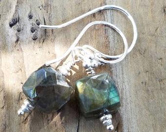 Labradorite Cube Earrings and Hill Tribe Silver, Sterling Silver, Artisan Style, Pierced Earrings, Beachy, Blue Flash, AAA Labradorite